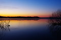 Dawn at spruce run reservoir of new jersey in spring time Stock Image