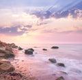 Dawn sunrise landscape over beautiful rocky coastline in the Sea