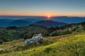 Dawn in top to the mountain called matajour in friuli Royalty Free Stock Photo