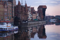 Dawn view over the river motlawa the old town in gdansk poland Stock Photos
