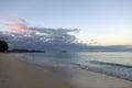 Dawn on Waimanalo Beach looking towards Mokulua islands Royalty Free Stock Photo