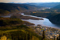 Dawson city yukon territories canada from a hill overlooking the town Royalty Free Stock Images