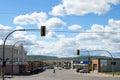 Dawson creek british columbia canada down town with alaska highway milepost zero built in Stock Images