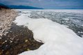 Day at baikal lake spring floating of ice Stock Images
