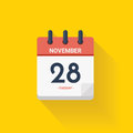 Day calendar with date November 28, 2017. Vector illustration