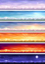 Day cycle - six landscapes at different time Royalty Free Stock Photo