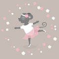 Day of dance. Vector illustration for a holiday. The mouse dances like a ballerina. Cute drawing.