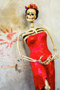 Day of the dead catrina on rough wall traditional mexican skeleton Royalty Free Stock Image