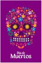 Day of the dead celebration - Skull made with flowers, text in Spanish: Day of the dead