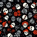 Day of the dead, colorful stylish skull with ornament and floral