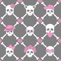 Day of the dead, colorful stylish skull with ornament and floral pattern. Seamless pattern. Royalty Free Stock Photo