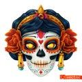 Day of the dead. Dia de los muertos. Skull, woman 3d vector icon Royalty Free Stock Photo