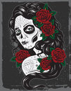Day of dead girl illustration vector Royalty Free Stock Photography