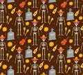 Day of the dead holiday in Mexico seamless pattern with sugar skulls