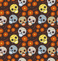 Day of the dead holiday in Mexico seamless pattern with sugar skulls. Skeleton endless background. Dia de Muertos Royalty Free Stock Photo