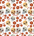Day of the dead holiday in Mexico seamless pattern with sugar skulls. Skeleton endless background. Dia de Muertos
