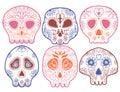 Day of the dead illustration skull. Vector illustration set. Tattoo skeleton. Royalty Free Stock Photo