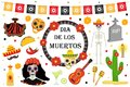 Day of the Dead Mexican holiday icons flat style.