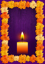 Day of the dead poster with traditional cempasuchil flowers used for altars Royalty Free Stock Photo