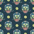 Day of the Dead seamless pattern, handdrawn sugar skulls