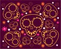 Day of the Dead. Seamless pattern with sugar skulls and flowers