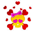 Day of The Dead skull and crossbones with hearts Royalty Free Stock Photography