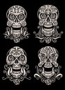 Day of The Dead Skull Tattoo Vector Set Royalty Free Stock Photo