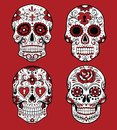 Collection of day of the dead skull vector illustrations