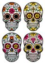 Day of the dead skull vector set fully editable illustration in on isolated white background image suitable for design Stock Images