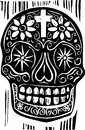Day of the dead skull woodcut style mexican Royalty Free Stock Images