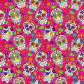 Day of the Dead Sugar Skull Seamless Vector Background Royalty Free Stock Photo