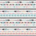 Day of the Dead. Tribal hand drawn line mexican ethnic seamless pattern. Border. Wrapping paper. Print. Doodles. Tiling