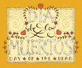 Day of the dead vector illustration set hand sketched lettering dia de los muertos for postcard or celebration Royalty Free Stock Photography
