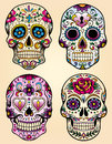 Day of the dead vector illustration set skulls Royalty Free Stock Photos