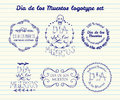 Day of the dead vector logotype set hand sketched badges dia de los muertos for product postcard or celebration Stock Photos