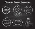 Day of the dead vector logotype set hand sketched badges dia de los muertos for product postcard or celebration Royalty Free Stock Photo