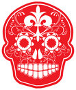 Day of the Dead Vector Red Sugar Skull Royalty Free Stock Image