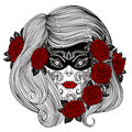 Day of The Dead. Woman with Sugar Skull and roses flowers.