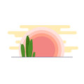 Day desert landscape with cacti under the sun