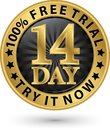 14 day free trial try it now golden label, vector illustration Royalty Free Stock Photo