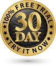 30 day free trial try it now golden label, vector illustration Royalty Free Stock Photo