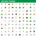 100 day icons set, cartoon style