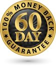 60 day 100%  money back guarantee golden sign, vector illustrati Royalty Free Stock Photo