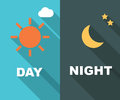 Day and night long shadow flat Royalty Free Stock Photo
