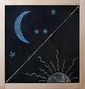 Day and night opposites concept on blackboard Royalty Free Stock Photo