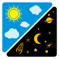 Day and night sun and moon  illustration Royalty Free Stock Photo