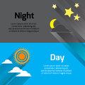 Day and night with sun, stars and moon with long shadows. Royalty Free Stock Photo