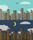 Day and night Urban Landscape. Summer City Background.  Vector Illustration Royalty Free Stock Photo
