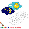 Day and night in vector cartoon to be colored. Royalty Free Stock Photo