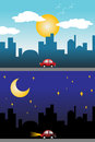 Day and night view of a modern city vector illustration Royalty Free Stock Images